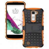 Антиударный гибридный силиконовый чехол с поликарбонатной крышкой и встроенной ножкой-подставкой для LG K10 Оранжевый