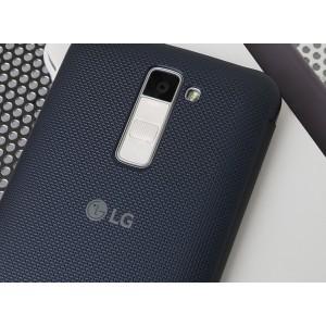 Оригинальный изогнутый чехол смарт флип на пластиковой основе с информативной боковой полосой для LG K10