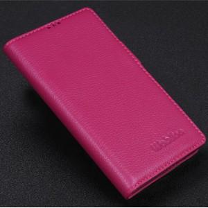 Кожаный чехол портмоне подставка (нат. кожа) для Philips i928 Пурпурный