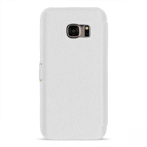 Кожаный чехол горизонтальная книжка (нат. кожа) с крепежной застежкой для Samsung Galaxy S7