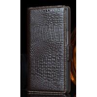 Кожаный чехол портмоне (нат. кожа крокодила) для Philips i928 Коричневый