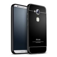 Двухкомпонентный чехол с металлическим бампером и поликарбонатной накладкой для Huawei G8 Черный