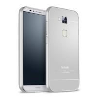 Двухкомпонентный чехол с металлическим бампером и поликарбонатной накладкой для Huawei G8 Белый