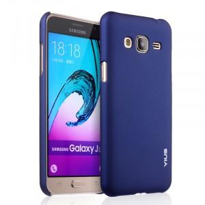 Пластиковый матовый непрозрачный чехол серия Металлик для Samsung Galaxy J3 (2016) Синий