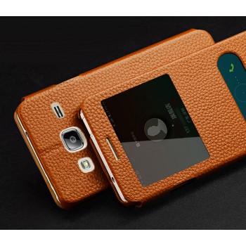 Кожаный чехол флип подставка на пластиковой основе с окном вызова и свайпом для Samsung Galaxy J3 (2016)