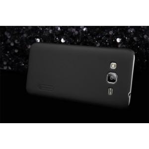 Пластиковый матовый нескользящий премиум чехол для Samsung Galaxy J3 (2016) Черный