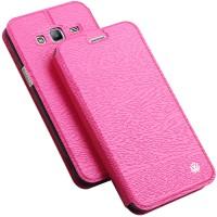 Чехол флип подставка на силиконовой основе текстура Дерево для Samsung Galaxy J3 (2016) Розовый