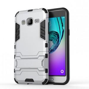 Двухкомпонентный силиконовый чехол с пластиковым бампером и подставкой для Samsung Galaxy J3 (2016) Белый