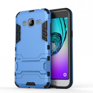 Двухкомпонентный силиконовый чехол с пластиковым бампером и подставкой для Samsung Galaxy J3 (2016) Голубой