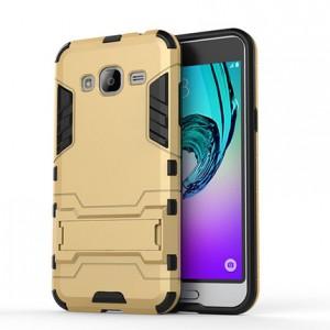 Двухкомпонентный силиконовый чехол с пластиковым бампером и подставкой для Samsung Galaxy J3 (2016) Бежевый