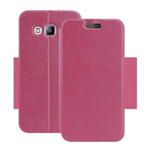 Текстурный чехол подставка на силиконовой основе для Samsung Galaxy J3 (2016) Розовый