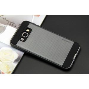 Силиконовый матовый непрозрачный чехол с поликарбонатной крышкой для Samsung Galaxy J3 (2016) Серый