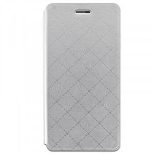 Чехол флип подставка на силиконовой основе с отделением для карт текстура Клетки для Samsung Galaxy J3 (2016) Белый