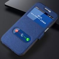 Текстурный чехол флип подставка на силиконовой основе с окном вызова и свайпом для Samsung Galaxy J3 (2016) Синий