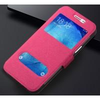 Текстурный чехол флип подставка на силиконовой основе с окном вызова и свайпом для Samsung Galaxy J3 (2016) Розовый