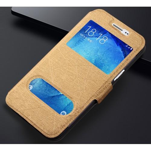 Текстурный чехол флип подставка на силиконовой основе с окном вызова и свайпом для Samsung Galaxy J3 (2016)