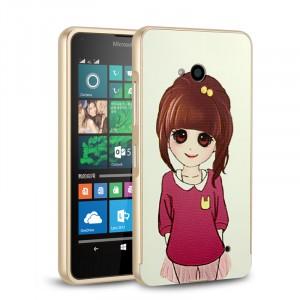Двухкомпонентный чехол с металлическим бампером и поликарбонатной накладкой с принтом для Microsoft Lumia 640