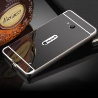 Двухкомпонентный чехол с металлическим бампером и поликарбонатной накладкой с зеркальным покрытием для Microsoft Lumia 640 Черный