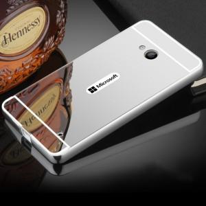 Двухкомпонентный чехол с металлическим бампером и поликарбонатной накладкой с зеркальным покрытием для Microsoft Lumia 640 Белый