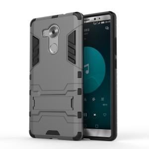 Двухкомпонентный силиконовый чехол с пластиковым бампером и подставкой для Huawei Mate 8 Серый