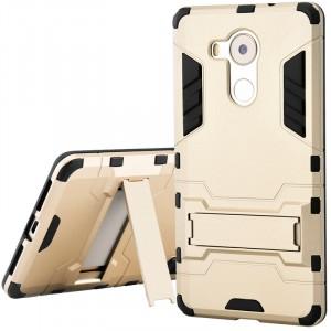 Двухкомпонентный силиконовый чехол с пластиковым бампером и подставкой для Huawei Mate 8 Бежевый