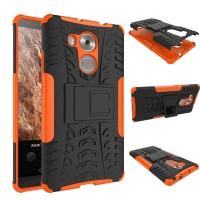 Двухкомпонентный силиконовый чехол с пластиковым бампером и подставкой для Huawei Mate 8 Оранжевый