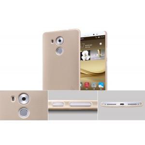 Пластиковый матовый нескользящий премиум чехол для Huawei Mate 8 Бежевый