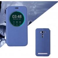 Текстурный чехол флип подставка с окном вызова для ASUS Zenfone 2 Laser 5.5 (ZE550KL) Синий