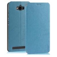 Текстурный чехол флип подставка на пластиковой основе с присоской для ASUS ZenFone Max Голубой