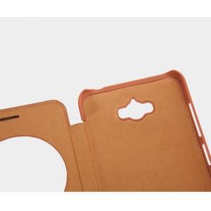 Чехол флип на пластиковой основе с окном вызова текстура Кожа для ASUS ZenFone Max