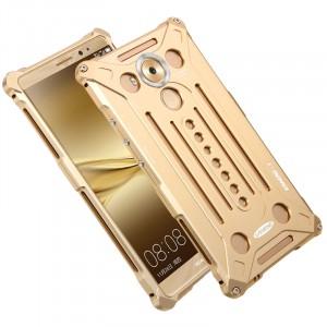Цельнометаллический противоударный металлический чехол из авиационного алюминия на винтах с мягкой внутренней защитной прослойкой для гаджета с прямым доступом к разъемам для Huawei Mate 8 Бежевый