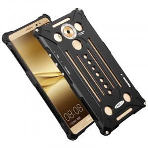 Цельнометаллический противоударный металлический чехол из авиационного алюминия на винтах с мягкой внутренней защитной прослойкой для гаджета с прямым доступом к разъемам для Huawei Mate 8 Черный