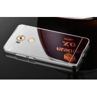 Гибридный двухкомпонентный чехол с металлическим бампером и поликарбонатной крышкой с зеркальным покрытием для Huawei Mate 8 Белый