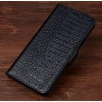 Кожаный чехол портмоне (нат. кожа крокодила) для Huawei Mate 8 Черный