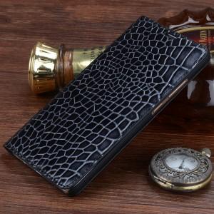Кожаный чехол горизонтальная книжка (нат. кожа крокодила) для Huawei Mate 8 Черный