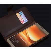 Кожаный чехол портмоне (нат. кожа крокодила) на пластиковой основе с магнитной защелкой для Huawei Mate 8 Коричневый