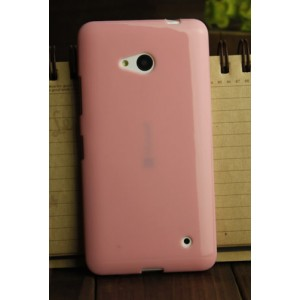 Силиконовый глянцевый непрозрачный чехол для Microsoft Lumia 640 Розовый
