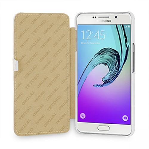 Кожаный чехол горизонтальная книжка (нат. кожа) с крепежной застежкой для Samsung Galaxy A7 (2016)