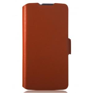 Тонкий чехол флип-подставка с застежкой для LG L90 Коричневый