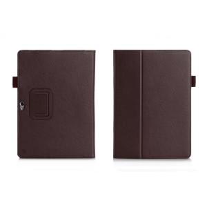 Чехол книжка подставка с рамочной защитой экрана, отделениями для карт и поддержкой кисти для Huawei MediaPad M2 10 Коричневый