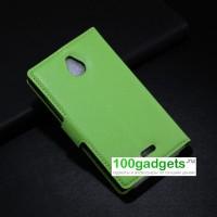 Чехол портмоне подставка с магнитной застежкой и внутренними карманами для Nokia X2 Зеленый