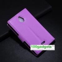 Чехол портмоне подставка с магнитной застежкой и внутренними карманами для Nokia X2 Фиолетовый