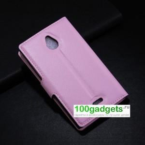 Чехол портмоне подставка с магнитной застежкой и внутренними карманами для Nokia X2 Розовый