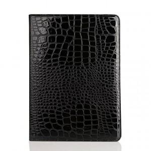 Чехол подставка на поликарбонатной основе с текстурным покрытием Крокодил для Ipad Pro 9.7 Черный