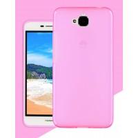 Силиконовый матовый полупрозрачный чехол для Huawei Honor 4C Pro Розовый
