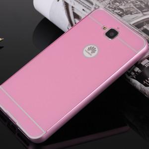 Двухкомпонентный чехол с металлическим бампером и поликарбонатной накладкой для Huawei Honor 4C Pro Розовый