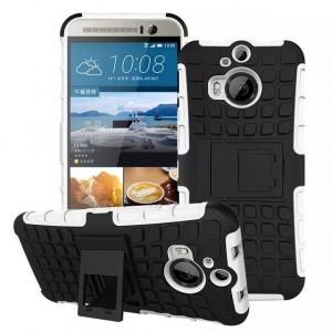 Антиударный силиконовый чехол экстрим защита с подставкой для HTC One M9+ Белый