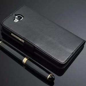 Глянцевый чехол портмоне подставка с защёлкой для Huawei Honor 4C Pro Черный
