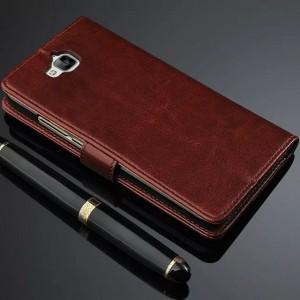 Глянцевый чехол портмоне подставка с защёлкой для Huawei Honor 4C Pro Коричневый