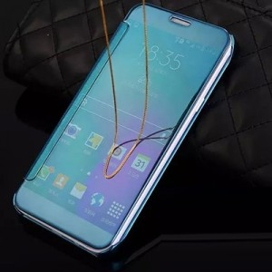 Двухмодульный пластиковый чехол флип с полупрозрачной акриловой крышкой с зеркальным покрытием для Samsung Galaxy A5 (2016) Синий